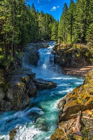 iPhone Wallpaper Silver Falls State Park, Washington, USA, stream, trees, rocks
