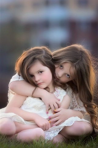 iPhone Wallpaper Sisters, lovely child, little girls