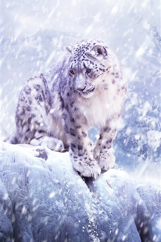 iPhone Wallpaper Snow leopard, blizzard, winter