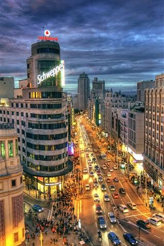 iPhone Wallpaper Spain, Madrid, city street, road, buildings, night, lights