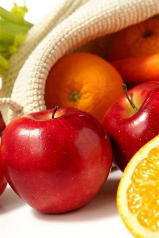 iPhone Wallpaper Still life, oranges, apples, lemon, tomatoes, carrots