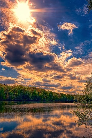 iPhone Wallpaper Summer, trees, river, clouds, sun