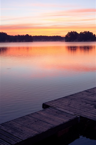iPhone Wallpaper Sunset, lake, dock