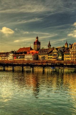 iPhone Wallpaper Switzerland, Lucerne, bridge, river, houses