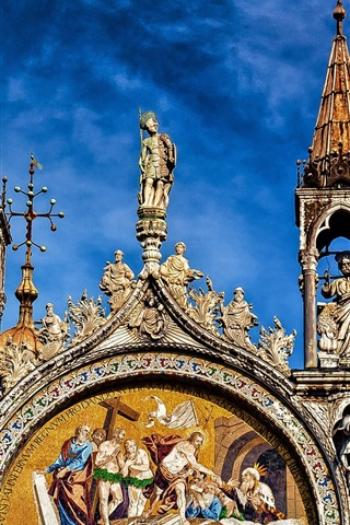 iPhone Wallpaper The Cathedral Of St. Mark, front view, Italy, Venice