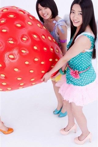 iPhone Wallpaper Three Asian girls and big strawberry