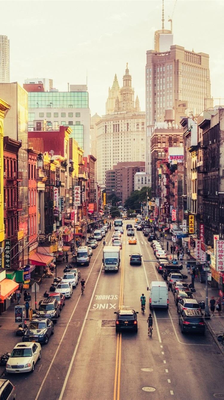 アメリカ ニューヨーク マンハッタン イーストブロードウェイ チャイナタウン 通り 都市 750x1334 Iphone 8 7 6 6s 壁紙 背景 画像
