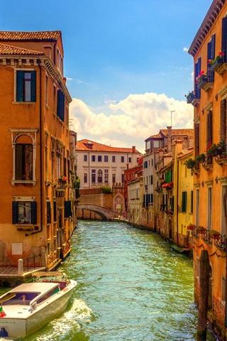 iPhone Wallpaper Venice, Italy, bridge, boats, river, houses