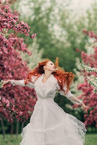 iPhone Wallpaper White dress girl, red hair, spring, flowers
