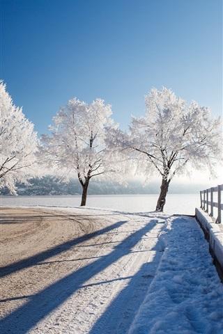 iPhone Wallpaper Winter, snow, trees, river, park