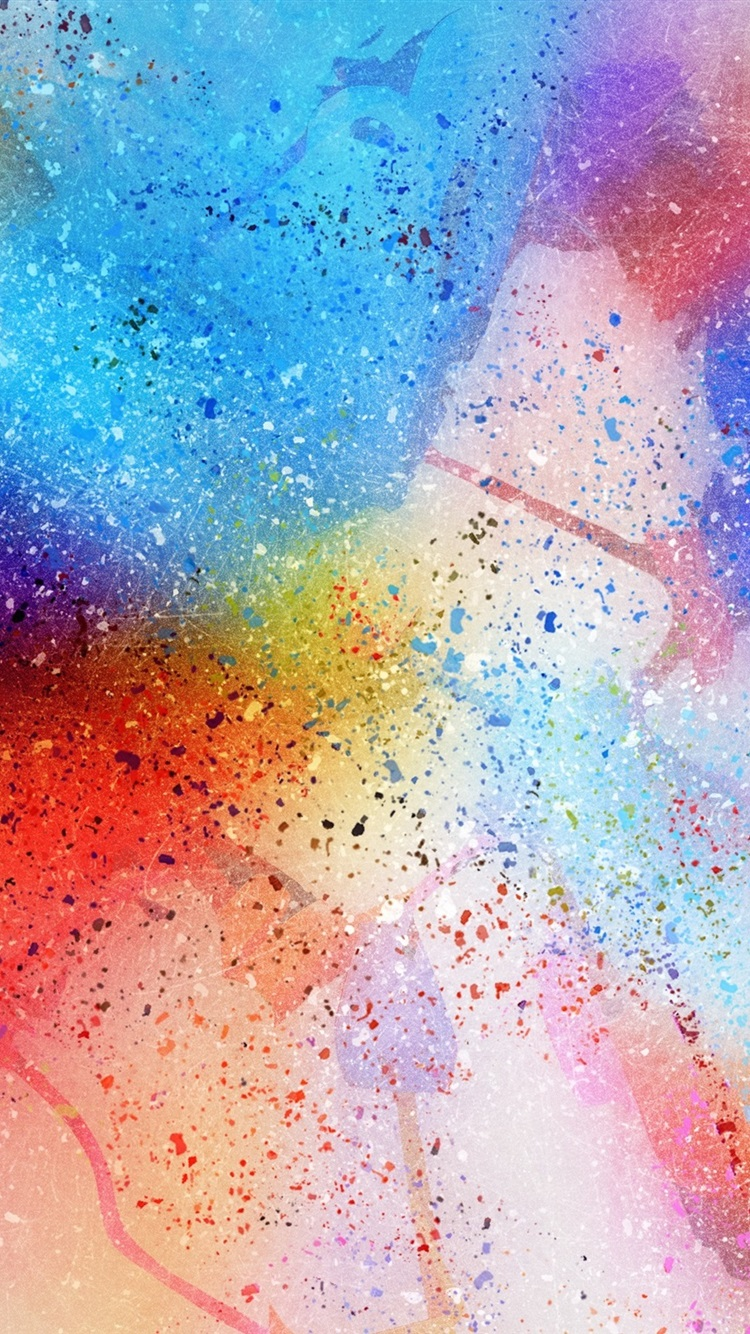 Abstract Watercolor Background Spots Rainbow Colors 750x1334 Iphone 8 7 6 6s Wallpaper Background Picture Image