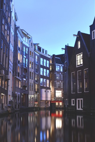 iPhone Wallpaper Amsterdam, Netherlands, houses, canal, lights, dusk