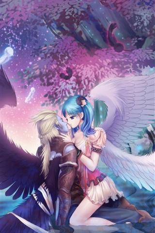 Engel Mädchen Kuss Junge, Flügel, Bäume, schöne Anime Bild 750x1334 ...
