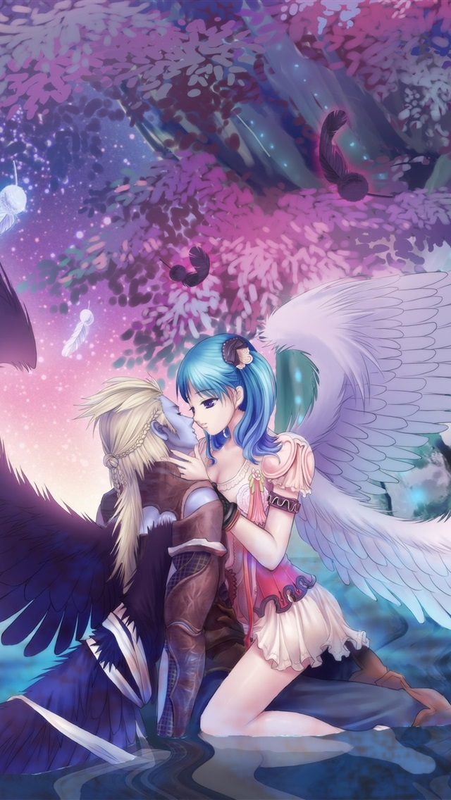 Wallpaper Angel Girl Kiss Boy Wings Trees Beautiful Anime Picture