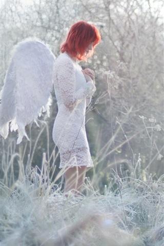 iPhone Wallpaper Angel girl, red hair, grass, winter