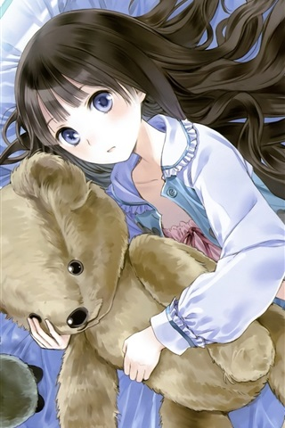 iPhone Wallpaper Anime girl and toy bear, room, bed