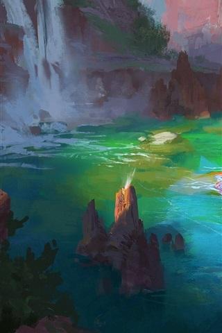 iPhone Wallpaper Art drawing, bathing, spa, river, rocks, trees, waterfall
