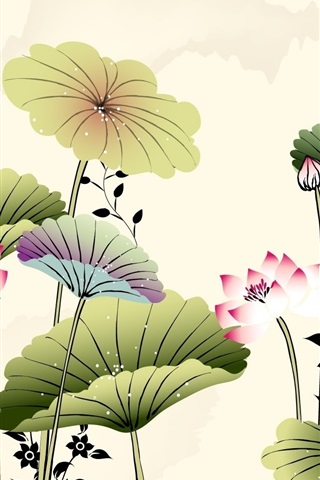 iPhone Wallpaper Art drawing, lotus, butterfly, Chinese style