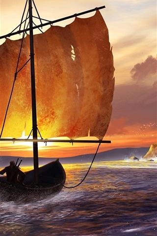 iPhone Wallpaper Art drawing, sea, sailboat, castle, birds, sunset