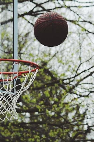 iPhone Wallpaper Basketball, throw ball, bokeh