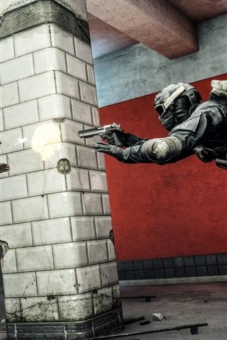 iPhone Wallpaper Battlefield 4, soldiers duel