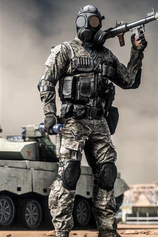 iPhone Wallpaper Battlefield 4, soldiers, grenade launcher