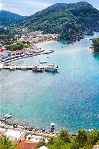 iPhone Wallpaper Bay, yachts, boats, sea, pier, city, Greece