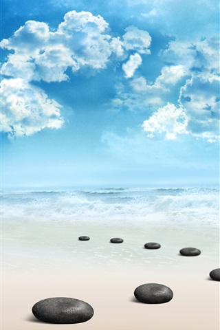 iPhone Wallpaper Beach, stones, sea, waves