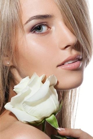 iPhoneの壁紙 ブロンドの女の子、白いバラ