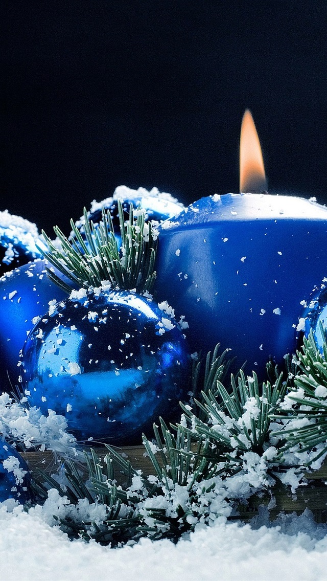 Blue Candle And Balls Snow Christmas Theme 640x1136 Iphone