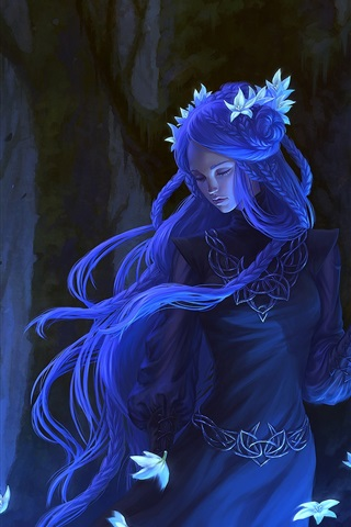 iPhone Wallpaper Blue hair fantasy girl, flowers, forest