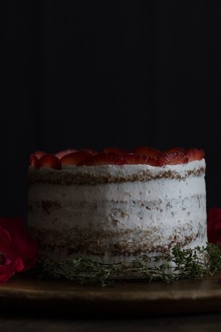 iPhone Wallpaper Cake, strawberry, rose, petals