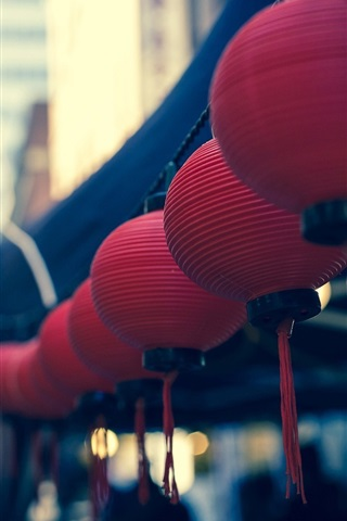 iPhone Wallpaper Chinese style, red lanterns