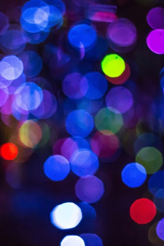 iPhone Wallpaper Colorful circles, bright, glare, night