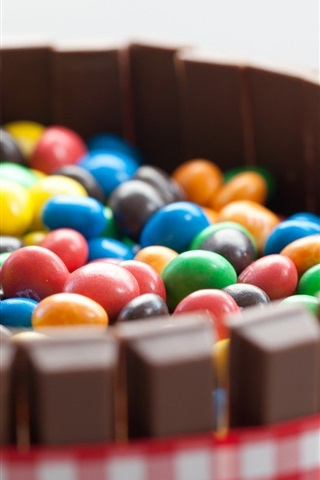iPhone Wallpaper Colorful pill candy, chocolate
