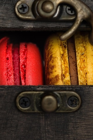 iPhone Wallpaper Cookies, colorful macaron, box