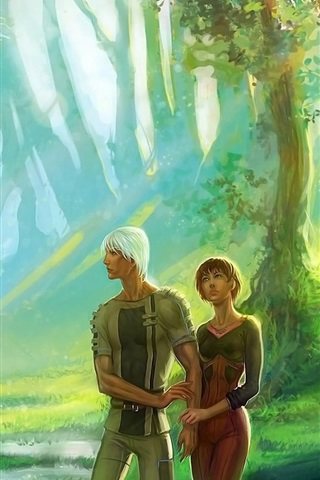 iPhone Wallpaper Couple, girl and boy, forest, art picture