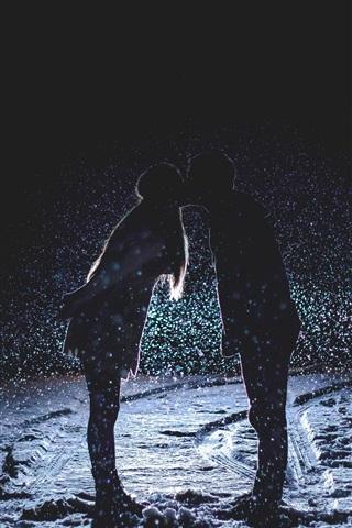 iPhone Wallpaper Couple love kiss, night, snowfall, snow