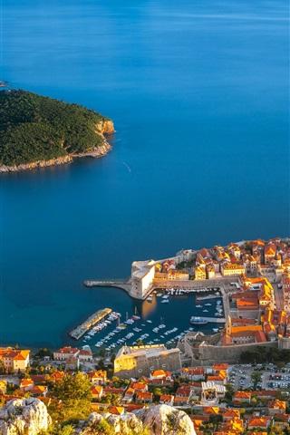 iPhone Wallpaper Croatia, Dubrovnik, sea, island, houses, buildings
