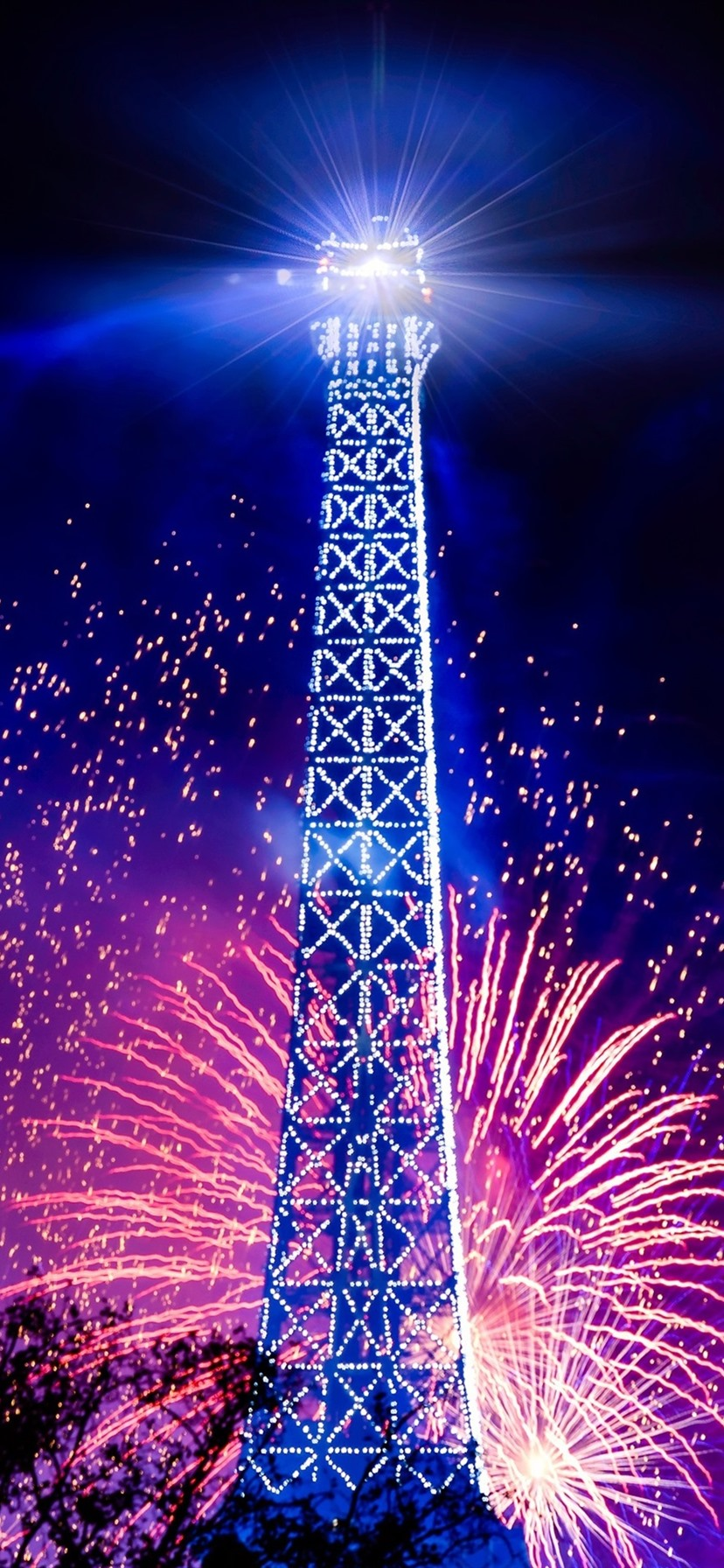 Eiffel Tower Holiday Night Lights Fireworks France 1080x1920