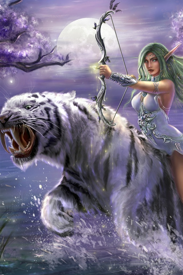 Fantasy M U00e4dchen  Gr U00fcnes Haar  Elf  Bogen  Wei U00dfer Tiger