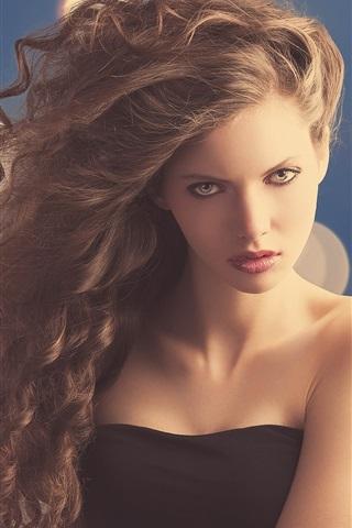 iPhone Wallpaper Fashion girl, curly hair, face, glare