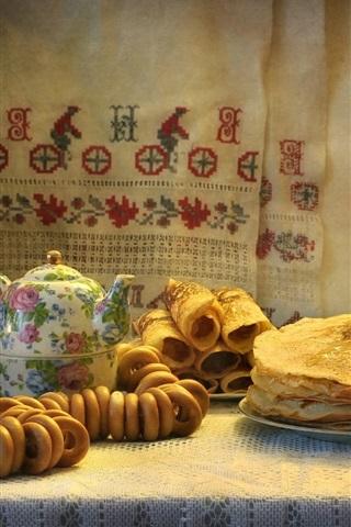 iPhone Wallpaper Food, pancakes, kettle, honey