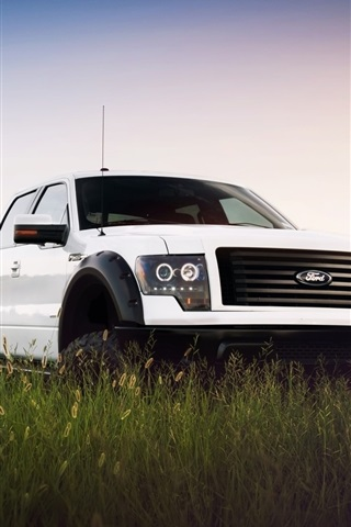 iPhone Wallpaper Ford F-150 white car front view