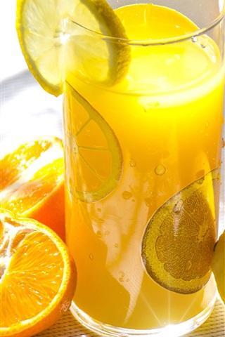 iPhone Wallpaper Fruit drinks, oranges, lemon, glass cup