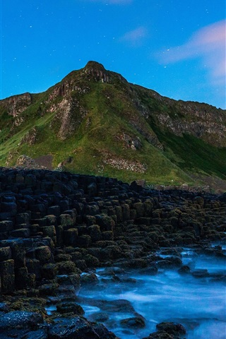 iPhone Wallpaper Giant's Causeway, Ireland, sea, stones