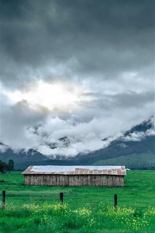 iPhone Wallpaper Grass, field, hut, mountains, trees, clouds, fog
