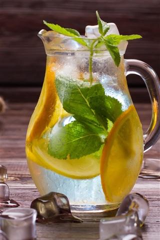 iPhone Wallpaper Ice cube, lemon, drinks, bottle, ginger