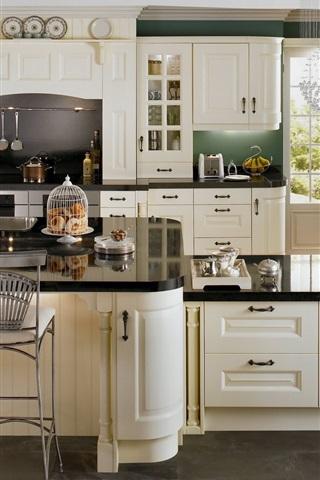 iPhone Wallpaper Interior, kitchen, chandelier, chairs, cupboards