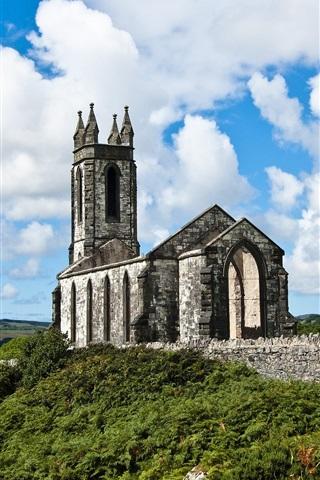 iPhone Wallpaper Ireland, church, river, clouds
